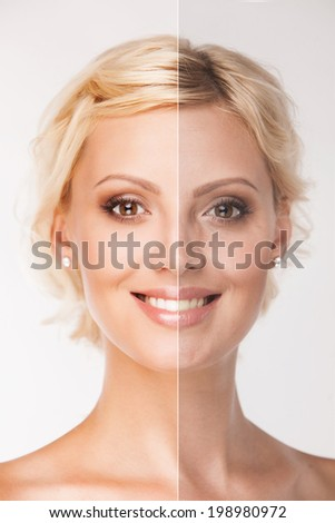 Face of beautiful blonde woman before and after retouch - stock photo