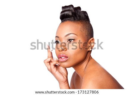 Face of beautiful woman applying facial moisturizer exfoliating anti wrinkle aging cream under eyes, skincare concept, isolated. - stock photo