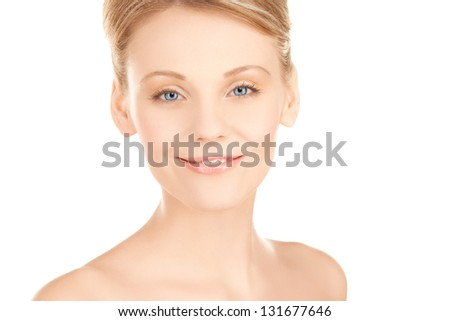 face of beautiful woman with updo hair