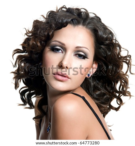 face of beautiful young woman with fashion makeup and curly hair. Isolated on white - stock photo