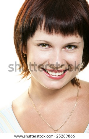 Face of cute female with green eyes looking at camera over white background