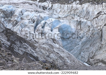 Face of Fox Glacier in Westland National Park on the West Coast of the South Island of New Zealand. - stock photo