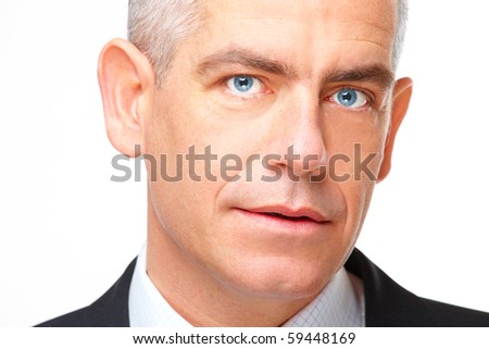 Face of gently smiling mature business man, isolated over white background - stock photo