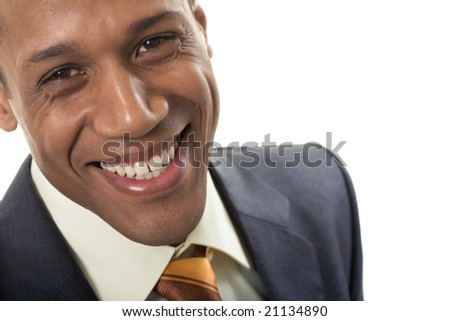 Face of happy Afro American businessman looking at camera with smile - stock photo