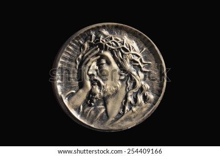 face of Jesus Christ in profile - stock photo