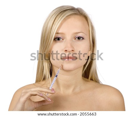 face of young blonde woman + beauty injection (pure white background) - stock photo