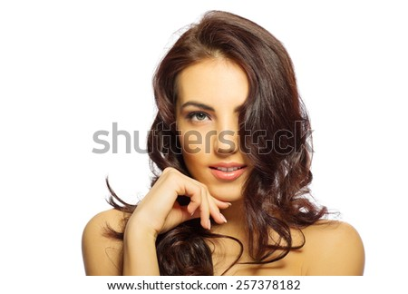 Face of young healthy girl isolated - stock photo