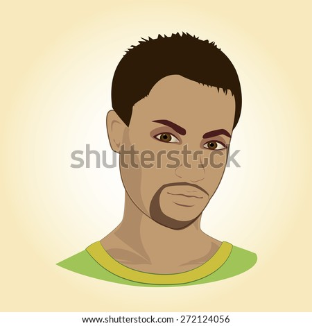 Face of young man, illustration - stock photo