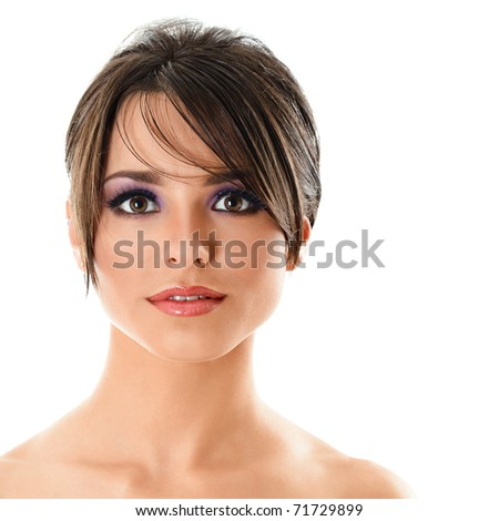 Face of young stunning woman looking to camera isolated over white background - stock photo