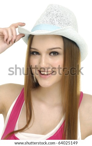 face of young woman with hat good face complexion
