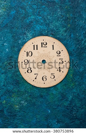 face old clock, vintage background - stock photo