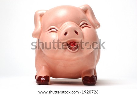 Face on view of piggy bank on white background - stock photo