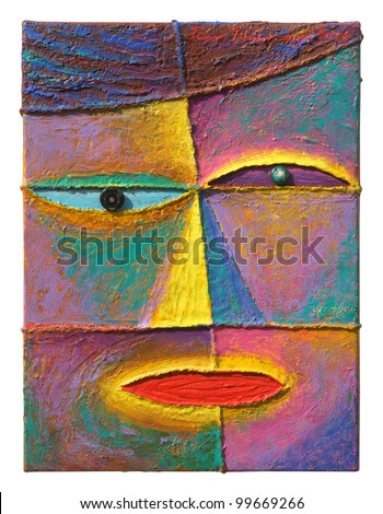 Face 4. Original acrylic painting on canvas. - stock photo