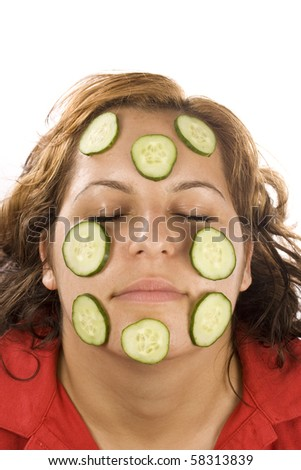 Face pack from cucumbers - stock photo