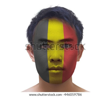 face painting of serious asian young Belgium football fan on white background