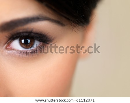 Face part of beautiful woman on natural background - stock photo