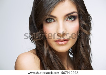 Face portrait of beautiful woman with natural clean skin. Isolated.