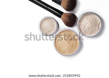 Face powder and brush isolated on white - stock photo