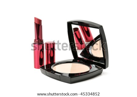 face powder and lipstick isolated on a white