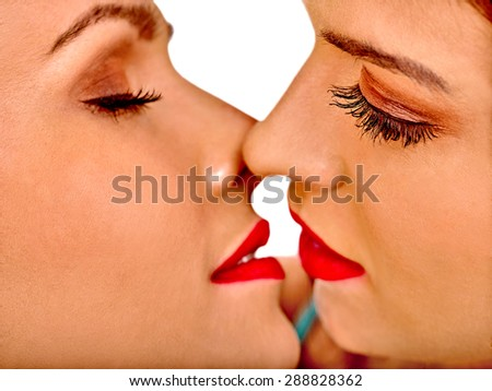 Face sexy lesbian women kissing in erotic foreplay game. Isolated. - stock photo