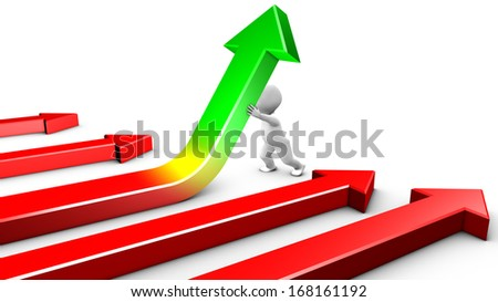 Face to a crisis, a character is straightening up a financial curve. Without reaction, other curves remain red. - stock photo