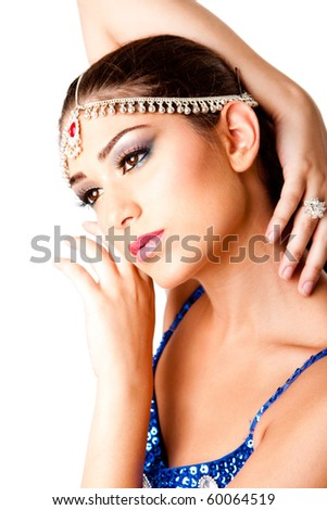 Face with hands of a beautiful Middle Eastern Egyptian Israeli Lebanese Turkish Arabic woman with makeup in the Belly Dancer style, isolated. - stock photo
