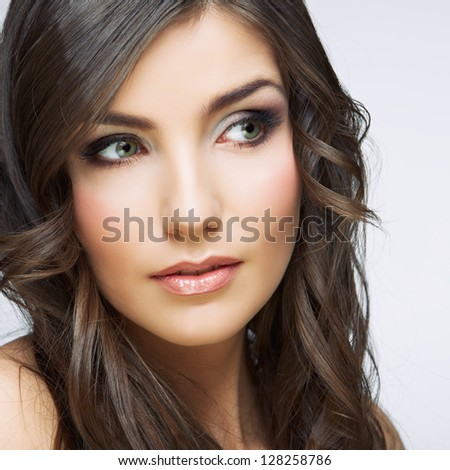 Face woman close up portrait. Isolated. Beauty style. - stock photo