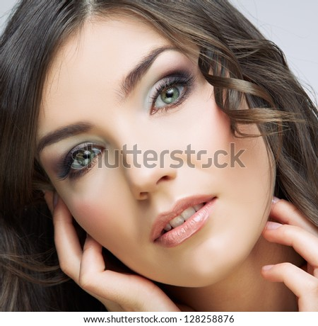 Face woman close up portrait. Isolated. Beauty style.