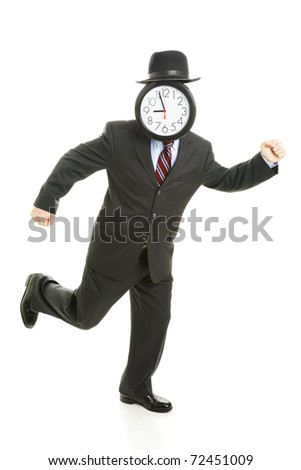 Faceless businessman running late for work.  His face is a clock that reads 8:55 am.  Full body isolated on white. - stock photo