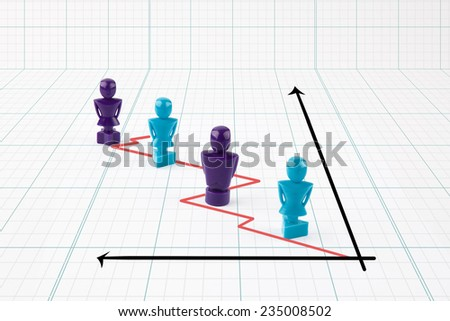 Faceless male and female figurines situated on line graph representing corporate workforce - stock photo