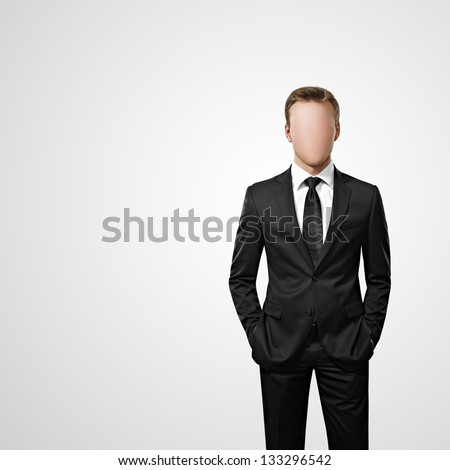 faceless man - stock photo