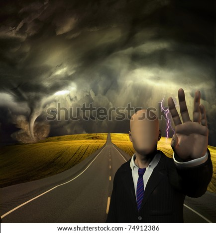 Faceless man blocks road way - stock photo