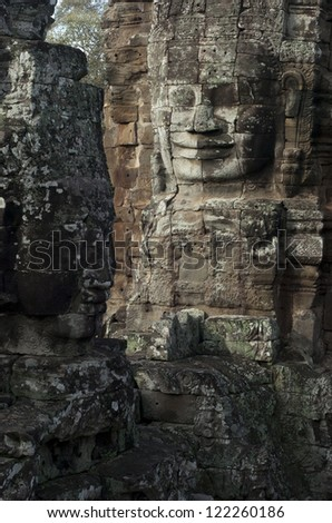 Faces of Bayon temple. Angkor temples. Siem Reap. Cambodia.