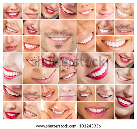 Faces of smiling people in set. Healthy teeth. Smile - stock photo