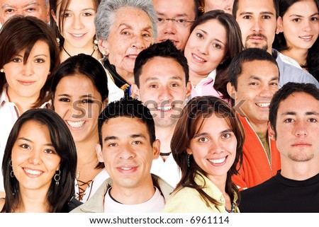 faces of the world montage featuring young people from diverse cultural backgrounds - stock photo