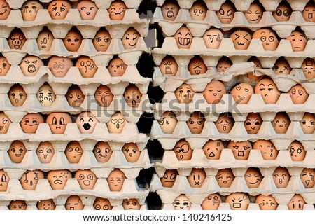 Faces on the eggs. Differences faces living together - Diversity concept