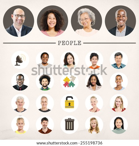 Faces People Diversity Community Portrait Concept - stock photo