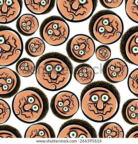 Faces seamless background, cartoon style pattern, hand drawn illustration. - stock photo