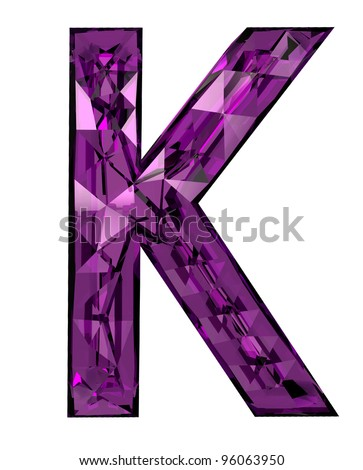 Faceted 3d diamond font k - stock photo