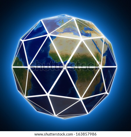 Faceted globe with white edges. Elements of this image furnished by NASA. - stock photo