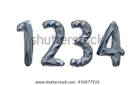 faceted number set 1, 2, 3, 4, 3d illustration