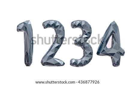 faceted number set 1, 2, 3, 4, 3d illustration - stock photo