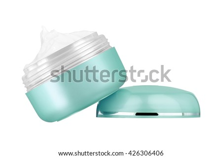 Facial cosmetic cream on blank turquoise glossy can, sitting on lid, isolated on white background
