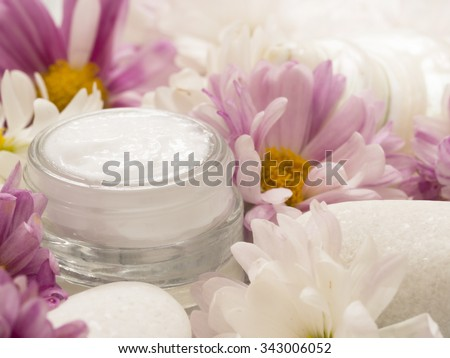 facial cream with fresh flowers, fresh as flowers - stock photo
