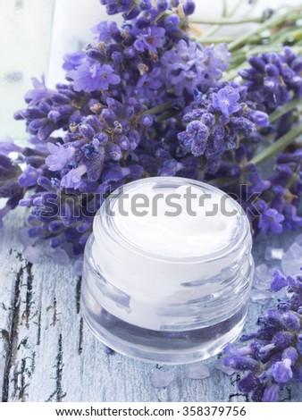 facial cream with lavender - stock photo