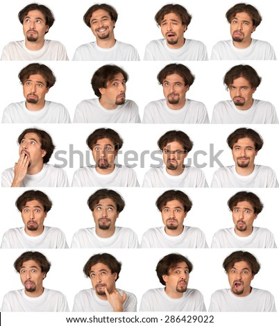 Facial Expression, Human Face, Men. - stock photo