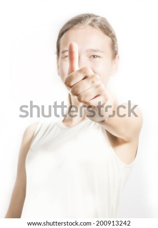 facial expressions and gestures of a young girl - stock photo