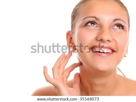 facial massage isolated on white