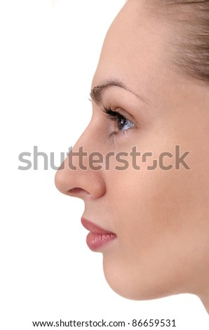 facial profile of young woman close up - stock photo