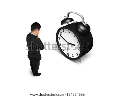 Facing alarm clock isolated in white